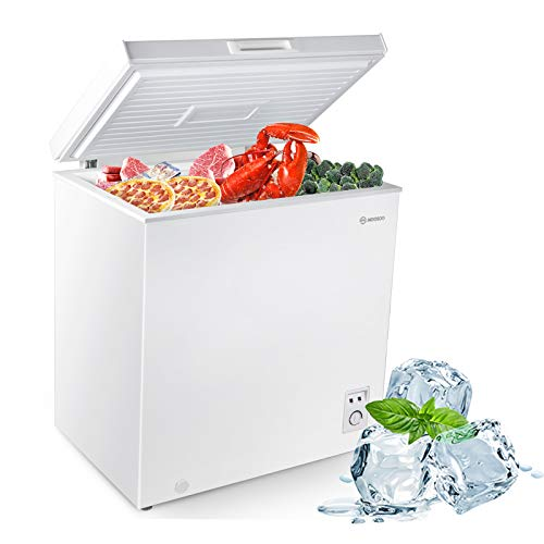 MOOSOO Chest Freezer, 5.0 Cubic Feet Deep Freezer with Removable Basket, Temperature Control, Low Noise & Energy Saving, Big Freezer for Home, Kitchen, Garage, Basement, apartment, White