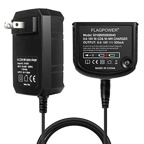 FLAGPOWER 9.6V 12V 14.4V 18V Replacement Charger for Black and Decker 9.6V-18V NiCad & NiMh Battery HPB18 HPB18-OPE FSB18 HPB14 FSB14 HPB12 FS12B HPB96 FSB96