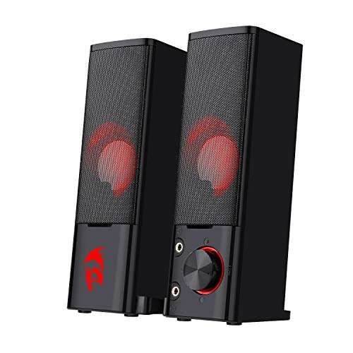 Redragon GS550 Orpheus PC Gaming Speakers, 2.0 Channel Stereo Desktop Computer Sound Bar with Compact Maneuverable Size, Headphone Jack, Quality Bass and Decent Red Backlit, USB Powered w/ 3.5mm Cable