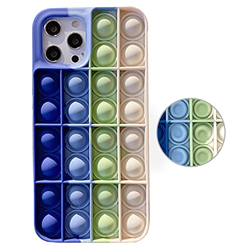 Billion Good Push Pop Phone Case Bubble Sensory Toy Rainbow Soft Case for iPhone 11 Case Stress Reliever Fidget Toy Cover for Apple iPhone11,6.1 Inch - Blue