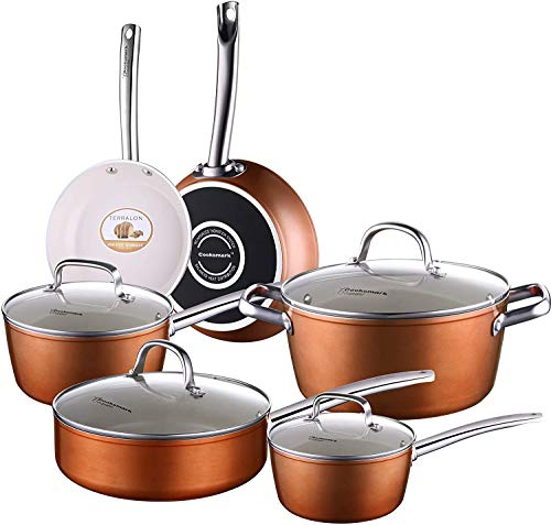 COOKSMARK Pots and Pans Set, Nonstick Ceramic Cookware Set Copper Finish - Dishwasher Safe Oven Safe - 10 Piece