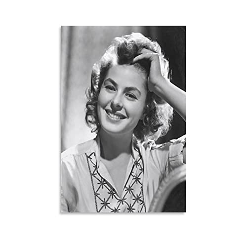 JIANGLING Ingrid Bergman Poster Collection Photography Print Photo Art Painting Canvas Poster Home Decorative Bedroom Modern Decor Posters Gifts 24×36inch(60×90cm)