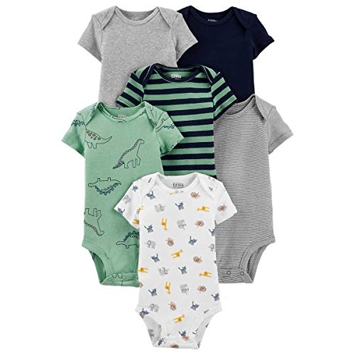 Carter's Precious Firsts Baby Girls/Boys Short-Sleeve Bodysuits 6-Pack (Green, Newborn)