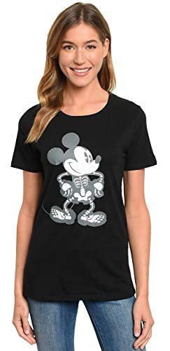 Disney Halloween Womens T-Shirt Mickey Mouse Skeleton Print (Black, Small)