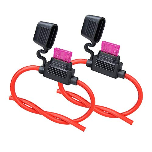 10ga Fuse Holder, 2 Pack MUYI Inline Fuse Holder 10 Gauge Fuse holders 12v Waterproof Pigtail Blade Fuse Relay with 40AMP ATC Fuses