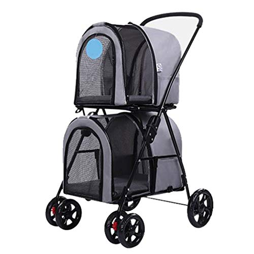 Pet Stroller Dog Stroller Jogger Double-Deck Folding Lightweight Outdoor Travel Cat Large Space Cage 4 Wheeled Supplies (Color : Gray)