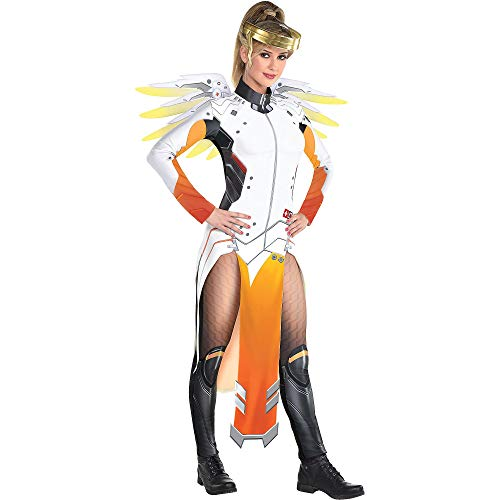 Party City Overwatch Mercy Costume for Adults, Size Medium, Includes a Catsuit with Panels, a Gold Halo Headband, Wings