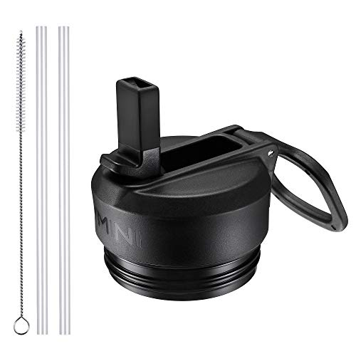 Vmini Straw Lid/Cap, Compatible with YETI Lid, RTIC Bottle Lid and More, Wide and Rotating Handle, Including Straws and Brush - Black