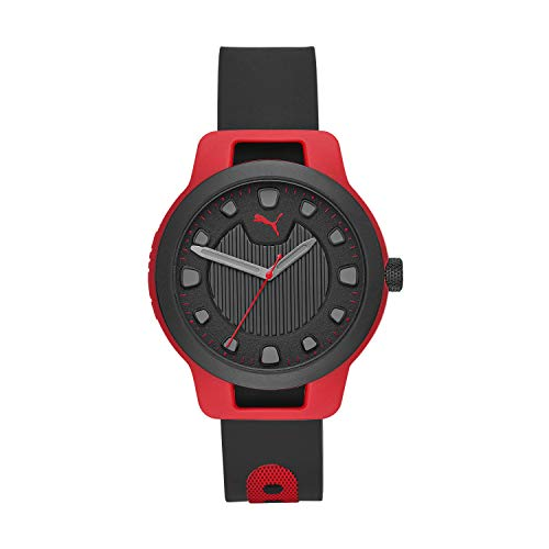 PUMA Men Reset V1 Silicone Watch, Color: Black/Red (Model: P5001)