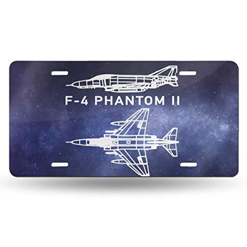 JADETADELA F-4 Phantom Ii Personalized Metal License Plate Decorative Car License Plate Aluminum Novelty License Plate Frame Cover 6'X12'