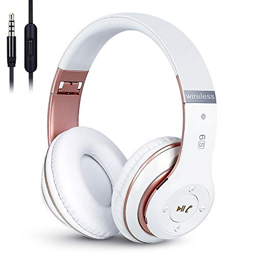 6S Wireless Bluetooth Headphones Over Ear, Hi-Fi Stereo Foldable Wireless Stereo Headsets Earbuds with Built-in Mic, Volume Control, FM for Phone/PC (White & Rose Gold)