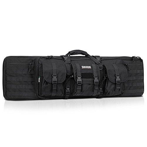 Savior Equipment American Classic Tactical Double Long Rifle Pistol Gun Bag Firearm Transportation Case w/Backpack - 36 Inch Obsidian Black