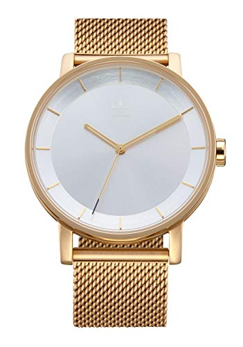 adidas Originals Watches District_M1. Milanese Stainless Steel Bracelet 20mm Width (40 mm) -Gold/Silver Sunray