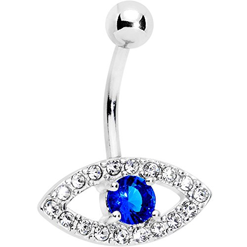 Body Candy Stainless Steel Clear Blue Accent Wholly Human Eye Belly Button Ring