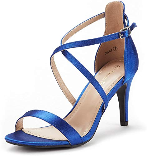 DREAM PAIRS Women's Dolce Royal Blue Satin Fashion Stilettos Open Toe Pump Heel Sandals Size 9.5 B(M) US