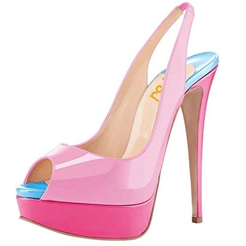 FSJ Women Awesome Platform Peep Toe Pumps Slingback High Heel Stilettos Prom Shoes Size 7 Pink-Blue