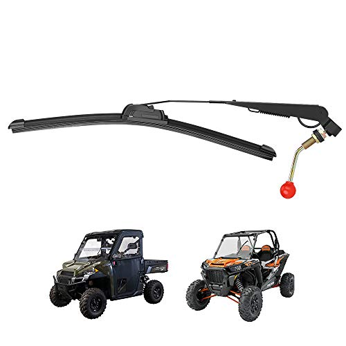 Kemimoto UTV Windshield Wiper Kit Hand Operated Manual Windshield Wiper for Hard Coated Or Glass Windshields Compatible with RZR Ranger General Maverick X3 Commander Defender Pro Golf Cart