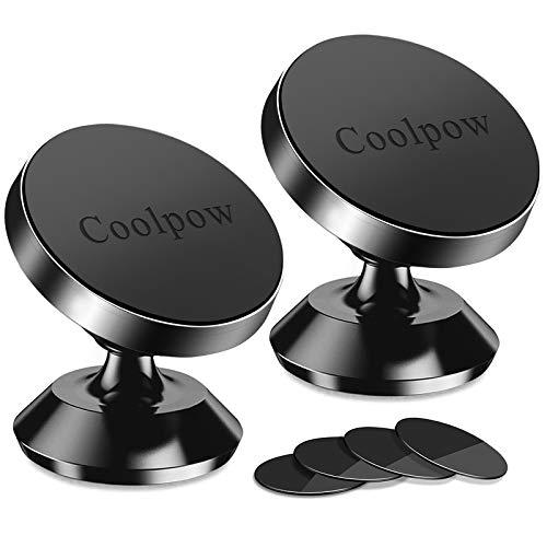 [ 2 Pack ] Magnetic Phone Mount, [ Super Strong Magnet ] [ with 4 Metal Plate ] car Magnetic Phone Holder, [ 360° Rotation ] Universal Dashboard car Mount Fits iPhone Samsung etc Most Smartphones