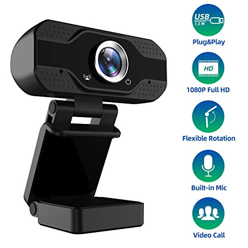 1080P Full HD Webcam with Microphone, USB Web Camera Streaming Computer Camera for Windows Mac PC,120 Degrees Wide-Angle 30fps,Large Sensor Superior Low Light for Video Calling Conferencing Gaming