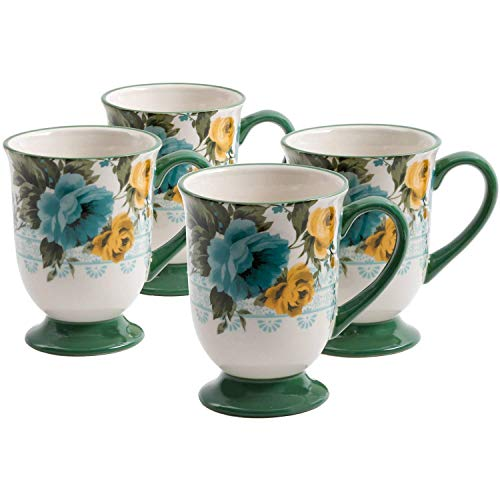The Pioneer Woman 18-Ounce Rose Floral Shadow Coffe Latte Drinkware Mugs - Set of 4