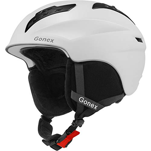Gonex Ski Helmet, Winter Snow Snowboard Skiing Helmet with Safety Certificate for Men, Women & Young Size L Adjustable 58-61cm Matte White