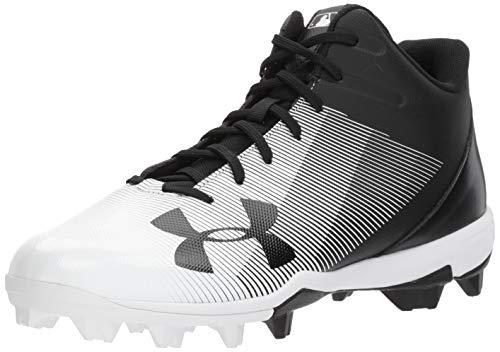 Under Armour Men's Leadoff Mid RM Baseball Shoe, Black (001)/White, 10
