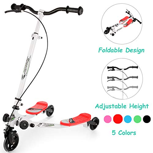 WOOKRAYS Y Fliker Scooter for Kids, 3 Wheel Swing Wiggle Scooter, Foldable Kick Speeder Drifter with Adjustable Height for Boys/Girl/5 Years Old and Up (Red)