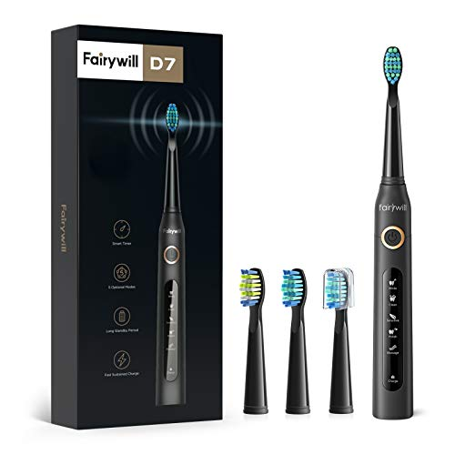 Fairywill Electric Toothbrush Powerful Sonic Cleaning - ADA Accepted Rechargeable Toothbrush with Timer, 5 Modes, 4 Brush Heads, 4 Hr Charge Last 30 Days Whitening Toothbrush for Adults and Kids Black