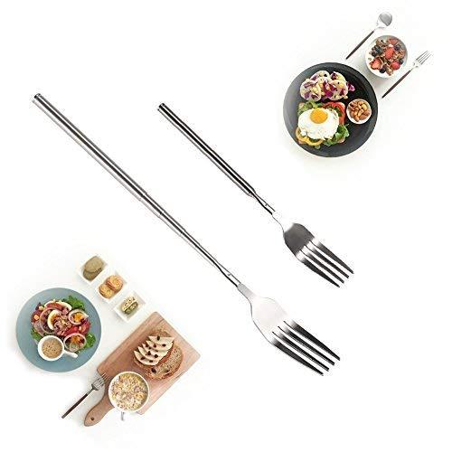 Yosoo Extendable Fork Telescopic Fork Extendable Long Handle Fork Barbecue Toasting Dinner Fruit Dessert Long Fork Cutlery (1 pc)