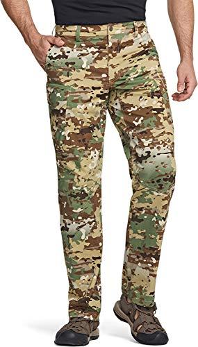 CQR Men's Hiking Pants, Water Repellent Outdoor Pants, Lightweight Stretch Cargo/Straight Work Pants, UPF 50+ Outdoor Apparel, Driflex Cargo Utility Camo, 38W x 30L