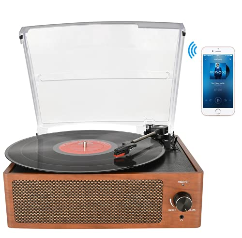 Rybozen Record Player Turntable for Vinyl with Built-in Speakers 3-Speed Vintage LP Player, Support Bluetooth In/ RCA Output/ Aux Input/ Headphone Jack