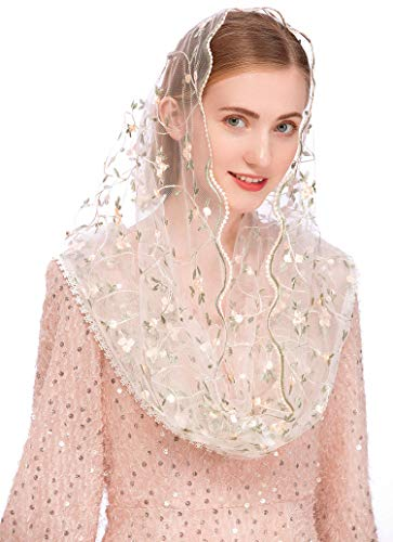 Pamor Chapel Veils Mantilla Infinity Veil Latin Mass Little Flower Soft Embroidered Lace Head Covering Scarf (White)