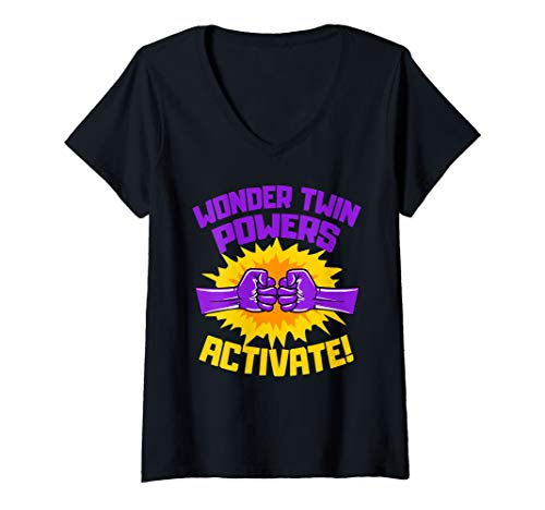 Womens Wonder Twins Power Activate Funny Gift V-Neck T-Shirt