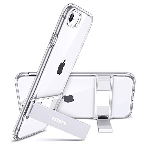 ESR Metal Kickstand Designed for iPhone SE 2020 Case,iPhone 8 Case [Vertical and Horizontal Stand] [Reinforced Drop Protection] Flexible TPU Soft Back for iPhone SE 2 New (2020)/iPhone 8(2017)- Clear