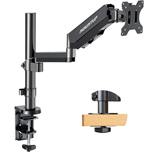 MOUNTUP Single Monitor Mount Stand - Height Adjustable Monitor Arm with Gas Spring, Monitor Desk Mount for 17 to 32 Inch Computer Screens with Clamp Mount, Grommet Base, VESA 75x75mm 100x100mm