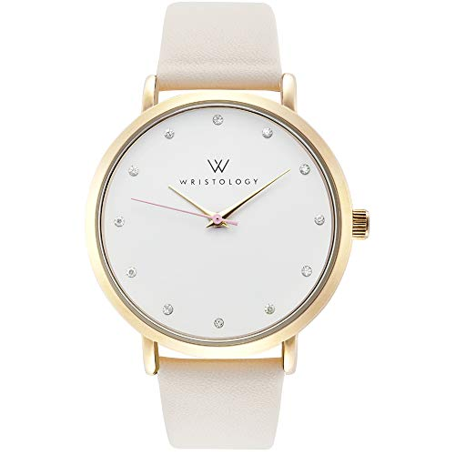 WRISTOLOGY Olivia Womens Watch Crystal Gold Boyfriend Ladies Beige Off-White Leather Strap Band