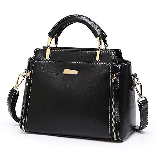 FADPRO Satchel Bags For Women Top Handle Retro Handbags Vintage Leather Shoulder Purse - Black
