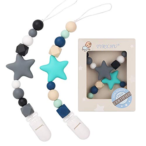 TYRY.HU Pacifier Clip Baby Boys Paci Clip Teething Silicone Beads Teether Toys Soothie Binky Holder Birthday Christmas Shower Gift 2 Pack (Turquoise, Grey)