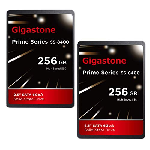 """Gigastone 256GB 2.5' Internal SSD 2-Pack 3D NAND Solid State Drive, SATA III 6Gb/s 2.5 inch 7mm (0.28""""), Read up to 550MB/s"""