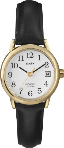Timex Women T2H341 Quartz Easy Reader Date Watch with White Dial Analogue Display and Black Leather Strap