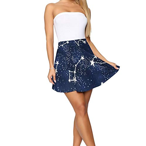 NiYoung Women Mini Skirt Casual Galaxy Starry Night Stars Glow in The Dark Midnight Skater Skirt Fashion Mini Skirt for Daily Role Play, Bachelorette Party, Birthday