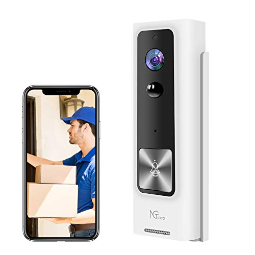 WiFi Video Doorbell, NGTeco Wireless Security Doorbell Camera, 1080P Wide Angle, 2-Way Audio, IP65 Waterproof, Motion Detection, Night Vision for Home Security Without Charger 2.4G