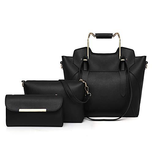 Handbags for Women Shoulder Bags Tote Crossbody Satchel Hobo 3pcs Purse Set for Work PU Leather (Black)