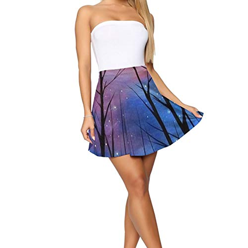 Women Starry Night Stranger Forest Trees Things Mini Skirt Personality Skater Skirt Fashion Short Skirt Attractive Mini Skirt for Party and Special Night