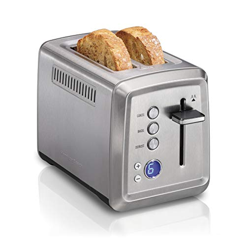 Hamilton Beach Digital 2 Slice Extra Wide Slot Stainless Steel Toaster with Bagel & Defrost Settings, Toast Boost, Slide-Out Crumb Tray, Auto-Shutoff and Cancel Button (22796)