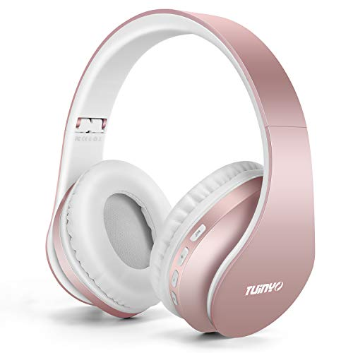 TUINYO Wireless Headphones Over Ear, Bluetooth Headphones with Microphone, Foldable Stereo Wireless Headset-Rose Gold