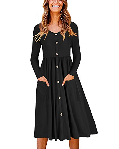 OUGES Women's Long Sleeve V Neck Button Down Midi Skater Dress with Pockets(Black,XXL)