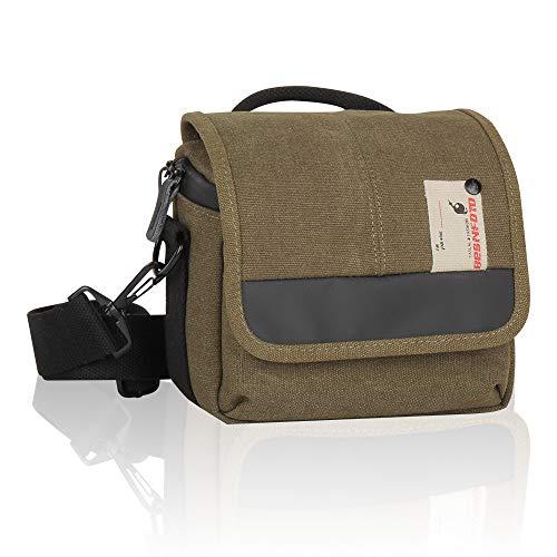 Besnfoto Mirrorless Camera Bag Small Compact Cute Camera Shoulder Bag Waterproof Canvas Messenger Bag Case for Women Men Compatible for Nikon, Canon, Sony