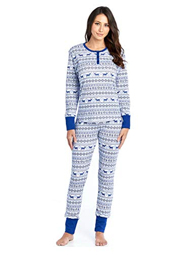 Ashford & Brooks Women's Printed Thermal Waffle Knit PJ Set - Blue Reindeer Fair Isle - Medium