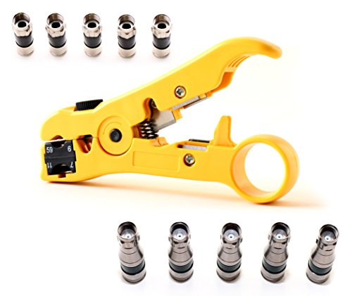 Coaxial Cable Stripping Tool RG6 RG11 RG59 RG7 Cat5e Cat6 Speaker Wire Cutter Stripper with coax connectors/by CableProof (Yellow)